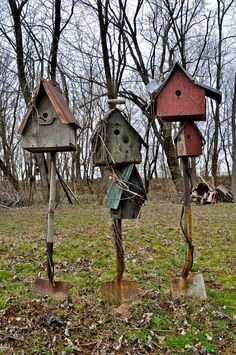 When it comes to birds, avid watchers know that you can never have too many bird houses in your yard. Birds appreciate these items during the nesting and migration seasons, which can just about cover the entire year in some areas. Garden Crafts, Garden Projects, Garden Tools, Rustic Gardens, Outdoor Gardens, Bird House Feeder, Rustic Bird Feeders, Bird Boxes, Fairy Houses