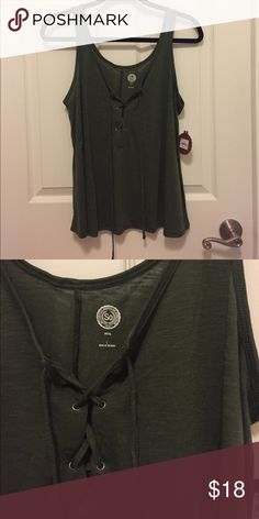 Lace-up Swing Tank 💪 S.O. sexy swing tank. On trend lace-up front. Olive/army green in color. Super soft. It's S.O. New with tags. Tops Tank Tops