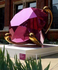 Diamond by Jeff Koons--shiny stainless steel sculpture
