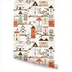 Birdhouse Orange Peel & Stick Fabric Wallpaper by AccentuWall, $40.00