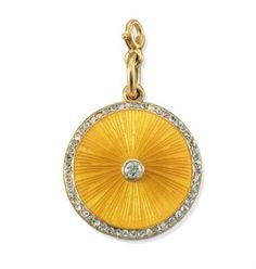 A Jeweled and Guilloché Enamel Locket  By Fabergé, with the workmaster's mark of August Holmström, St. Petersburg, circa 1890  Circular, the hinged cover enameled in translucent yellow over a sunburst guilloché ground and centering a diamond, with a rose-cut diamond border, the reverse reeded