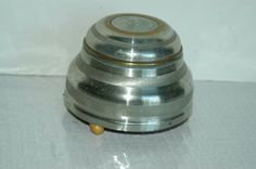 Vintage Art Deco Brushed Aluminum Music Box Vanity Powder Jar ESTATE FIND