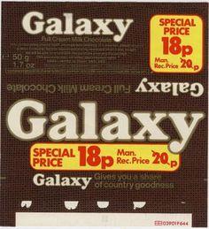 Galaxy chocolate bar wrapper 1980s Chocolate Bar Wrappers, Chocolate Sweets, Chocolate Packaging, Chocolate Bars, Retro Recipes, Vintage Recipes, My Childhood Memories, Sweet Memories, British Sweets