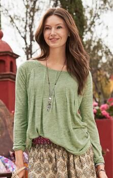 Achieve an effortless, carefree look with this lovely, pull-on linen tunic with pintuck accents.