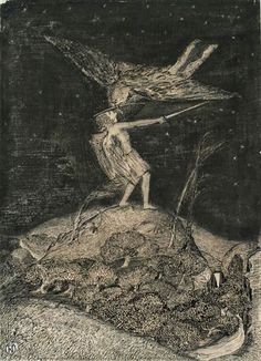 'The Combat' or 'Angel and Devil' by Paul Nash (1910)
