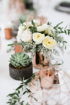 Delicate combination of rose gold, succulents and dusty miller for this wedding design! Floral by Cabo Floral Studio Vases and accessories by Let It Be Photography Sara Richardson Rose Gold Vase, Rose Gold Centerpiece, Gold Wedding Centerpieces, Rose Gold Marble, Flower Centerpieces, Table Centerpieces, Dusty Rose Wedding, Floral Wedding, 40th Birthday Centerpieces