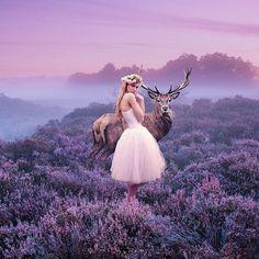 Imagem de girl, photography, and deer