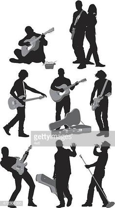 Múltiples siluetas de músicos Human Drawing, Drawing Poses, Music Themed Cakes, Jazz Poster, Guitar Photography, Drawing Reference, Cute Art, Art Drawings, Sketches