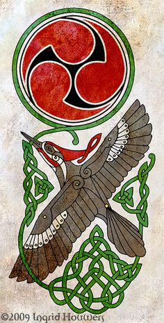 Pileated Woodpecker by Illahie. Celtic Pileated Woodpecker, with Taiko-drum styled triskel. Celtic Tribal, Celtic Art, Celtic Patterns, Celtic Designs, Fox Art, Bird Art, Mystic Symbols, Drum Tattoo, Native Design