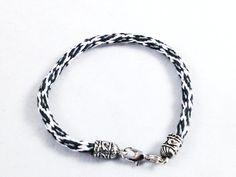 Spotted Snow Leopard Kumihimo Bracelet by knottyandnyce on Etsy