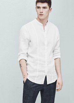 Camisa slim-fit lino cuello mao | MANGO MAN