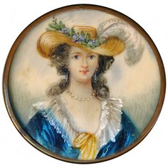 Button--Very Large 19th C. Hand Painted Lady In Blue under Glass in Brass