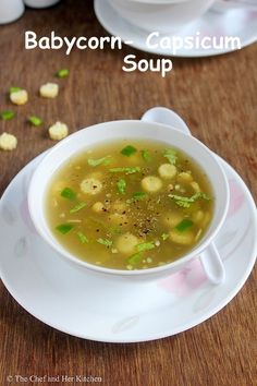 A bowl of hot Soup with warm garlic bread or a bowl of pasta is always a comfort food for me in the monsoons. Though I prepare soups oft. Veg Clear Soup Recipe, Veg Soup Recipes, Vegetable Recipes, Vegetarian Recipes, Cooking Recipes, Healthy Recipes, Drink Recipes, Capsicum Recipes, Gumbo Recipes
