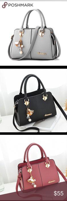 Solid tote handbag Casual crossbody messenger shoulder bag available in black,gray,dark gray,green,pink,red 1-2 week shipping Bags Totes