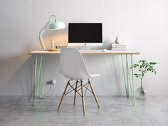 Hairpin Desk and Dining Table White Formica Birch Plywood & Our Best Selling Pins All Sizes is part of Plywood desk - hairpindeskanddiningtablegrey Hairpin Leg Desk, Hairpin Table, Home Office, Office Decor, Eames Design, Diy Tisch, Birch Ply, Style Deco, Table Legs