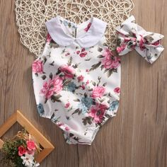 Babies Floral Bodysuits Infant Baby Girl Flower Turn-up Collar Bodysuit+Headband Playsuit Jumpsuit Outfits Sunsuit Clothes Toddler Fashion, Kids Fashion, Fashion Clothes, Fashion Accessories, Girls Clothing Stores, Baby Girl Romper, Baby Girls, Floral Bodysuit, Girl Sleeves