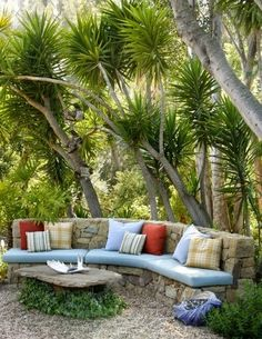 """"""""""" 15 Outdoor Furniture Inspiration """""""" Outdoor Furniture Inspiration (Get your custom cushions for this beautiful stone bench at Patio Place at Ski Haus! Garden Seating, Outdoor Seating, Outdoor Rooms, Outdoor Living, Outdoor Kitchens, Backyard Seating, Outdoor Patios, Rustic Outdoor, Rustic Patio"""