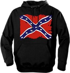 Distressed Rebel Flag Hoodie in Black