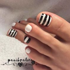 Stylish Black And White Stripes Combo For Toe Nails Design ❤️ Fabulous Nails Art Designs For Your Toes❤️ See more: naildesignsjourna. Pedicure Nail Art, Nail Designs Toenails, Toenail Art Designs, Pedicure Designs, Black Nail Designs, Pretty Nail Designs, Nails Design, Pedicure Ideas, Pretty Toe Nails