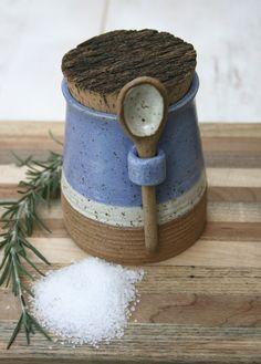 salt jar with spoon, spice jar, kitchen canister, stoneware salt pot, rustic blue, matte white, speckled, minimal pottery, rustic kitchen, by earthformsbymarie on Etsy