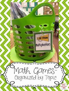 Math games organized by topic into Dollar Tree baskets.
