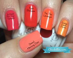 Chickettes.com Gelish orange comparisons....usually get the tiger blossom in summer.. cant go wrong... may try the others too