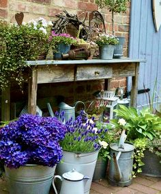 Container gardening is a fun way to add to the visual attraction of your home. You can use the terrific suggestions given here to start improving your garden or begin a new one today. Your garden is certain to bring you great satisfac Rustic Garden Decor, Rustic Gardens, Wooden Garden, Garden Gazebo, Outdoor Flowers, Outdoor Sheds, Garden Inspiration, Container Gardening, Planting Flowers