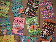 In Art class, third graders learned how to weave with paper. Students used old scrap pieces of painted paper while they were going over and under to create the weaving. Next, students learned about sy