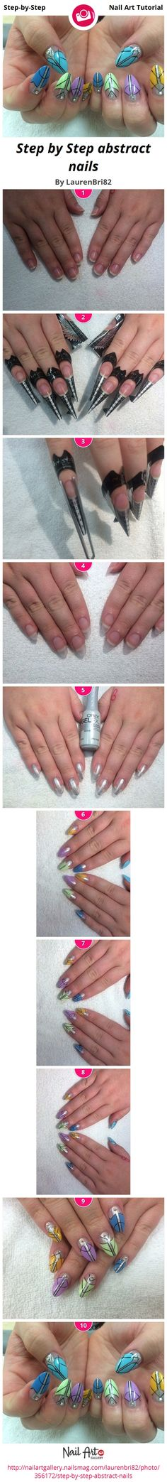 Step by Step abstract nails - Nail Art Step-by-Step Tutorial Photos
