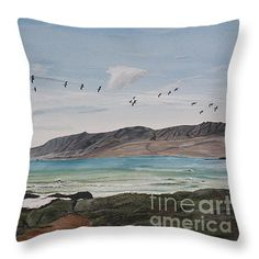 """Squadron of Pelicans Central Califonia Throw Pillow 14"""" x 14"""""""