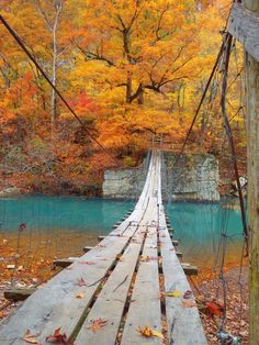 Swing'n Bridge Mulberry River Oark, Arkansas...My husband needs to take my on a fall road trip.