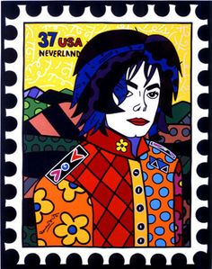 """Michael Jackson, Painting by Remero Britto. Inspiration for an art lesson. Create a """"Stamp"""" that features a famous person - done in a style or way that expresses or describes some significant aspect or publicly perceived attribute or essence of the person."""