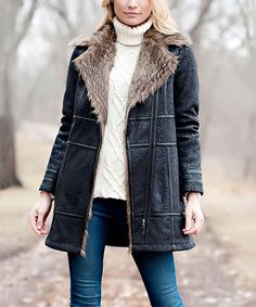 Look what I found on #zulily! Donna Salyers' Fabulous-Furs Black Embossed Faux Fox Fur Coat - Plus Too by Donna Salyers' Fabulous-Furs #zulilyfinds