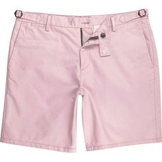River Island Pink slim chino buckle shorts ($37) ❤ liked on Polyvore featuring men's fashion, men's clothing, men's shorts, pink, shorts, chino shorts, pink shorts, slim fit shorts, buckle shorts and pink chino shorts