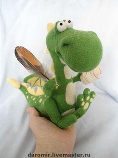 """Купить Дракон валяный """"Веснушка"""" - эксклюзивный подарок, авторская работа, авторская игрушка, сувениры и подарки"""