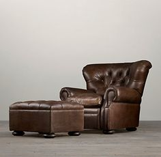 Churchill leather chair and ottoman- grey leather?