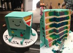 Giant raindbow BMO Adventure Time cake