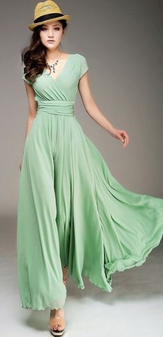Wrapped V-neck High Waist Maxi Dress ♥✤ | Keep the Glamour | BeStayBeautiful