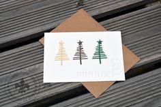 """Weihnachten - Karte """"Frohes Fest"""" mit ausgestanztem Schriftzug - ein Designerstück von Made-by-May bei DaWanda"""