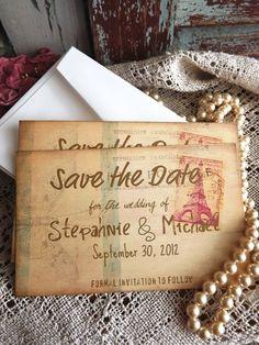 Wedding Save the Date Card Vintage Postcard