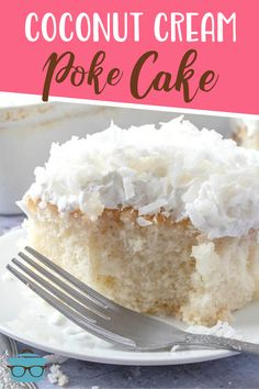 Coconut Cream Poke Cake starts with a boxed cake mix and is covered with a creamy and sweet cream of coconut filling and a coconut topping! Homemade Desserts, Easy Desserts, Delicious Desserts, Yummy Food, Poke Cake Recipes, Dessert Recipes, Pie Recipes, Easy Holiday Recipes, Spring Recipes