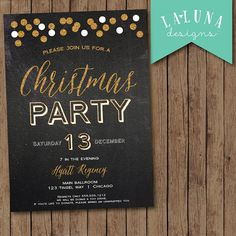 Christmas Party Invitation, Holiday Party Invitation, Christmas Party Invite, Christmas Party Printable, Chalkboard Christmas Party