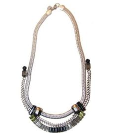 Garance - Fern Chain & Crystal Statement Necklace (Antique Silver / Jet/ Citrine ) - Mezi