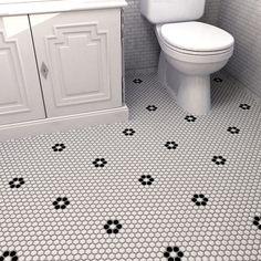 SomerTile 9.875x11.5-in Victorian Penny 3/4-in Matte White Black Flower Porcelain Mosaic Tile (Pack of 10)