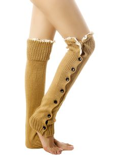 """iB-iP Women'S Knitting Button Down Thermal Eyelet Lace Cuff Mid-Calf Leg Warmers, Ochre. Plain; Stonewashed;. Please Select the Size Base on the detailed Sizes from the """"PRODUCT DESCRIPTION"""" below. Get FREE SHIPPING when you purchase ANY 2 or more items offered and shipped by iB-iP. Please check for more buying options on the right side of the page. Destinations and Delivery time (Shipped by iB-iP): United States: 5-15 business days (EMS/USPS First-Class); Canada, Australia: 5-15 business..."""