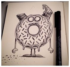 The Donut of Doom has nothing but revenge on its mind. Pen and ink in sketchbook.