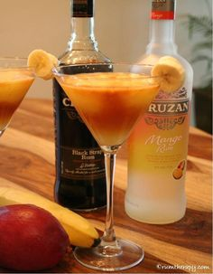 Banana Mango Tango  (serves 2)  3 oz. Cruzan Mango Rum  1/2 c. pineapple juice  1/4 peeled mango  1/2 large banana  1/2 oz. Cruzan Black Strap Rum  Blend the mango, banana, pineapple juice and Cruzan Mango Rum in a blender. Add approximately 1 cup of ice and blend until smooth. Pour into glasses. Float 1/4 oz. Cruzan Black Strap Rum on top of each drink and garnish with banana slices.