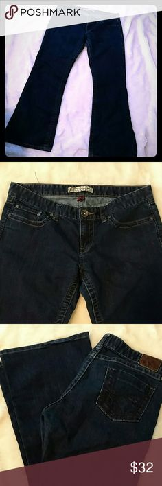"""Women's BKE Sabrina Jeans Great shape, dark wash Stretch Bke Sabrina Jeans! 31X 31 1/2..I believe they are flared..waist measurement is 16 1/2 across and rise is 8"""" BKE Jeans Flare & Wide Leg"""
