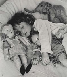 Little girls and their dolls