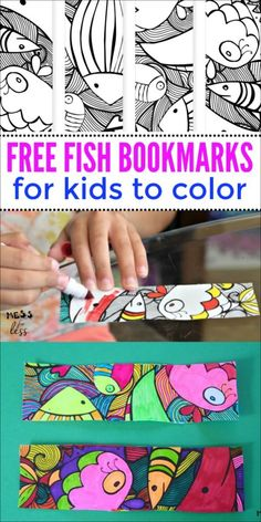 Free Fish Bookmarks to Color - Pin Hairs Free Printable Bookmarks, Bookmarks Kids, Bookmarks To Color, Free Printables, Coloring For Kids, Free Coloring, Coloring Pages, Coloring Sheets, Diy For Kids